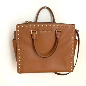 MICHEAL KORS camel color large studded Selma tote